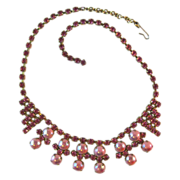 Pink Rhinestone and Faux Pink Pearl Vintage Necklace 1950s