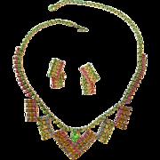 Rainbow Rhinestone Necklace and Earring Set