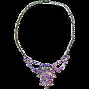 Purple and White Vintage Rhinestone Necklace / Wedding / Prom / Bib Necklace