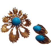 MOD Starburst Vintage Pin and Earring Set Turquoise Colored Stones and Rhinestones