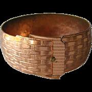 Copper Basketweave Buckle Bracelet / Vintage Jewelry / 1950s Bracelet