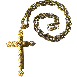 Large Filigree Goldtone Cross / Vintage Fashion Jewelry / Womens Gift / Costume Jewelry