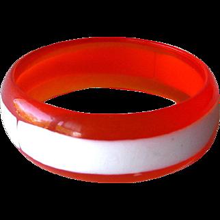 Mod Orange and White Lucite Bracelet / Vintage Jewelry / 1960s Bracelet