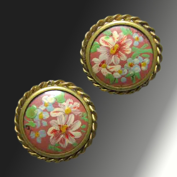 Hand Painted Celluloid Earrings