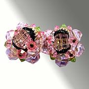 Sparkly Pink West German Earrings