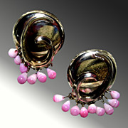Stylish Vintage Earrings -- Gold Toned & Pink Glass Beads