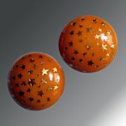 Vintage Orange Star Plastic Earrings
