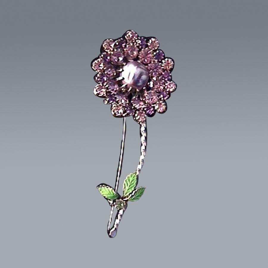 Spring Has Sprung...Amethyst Rhinestone & Baroque Pearl Flower Pin