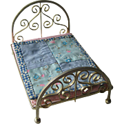 Vintage Miniature Brass Bed With Quilt and Matress / Dollhouse Doll Furniture / Miniature Furniture / Doll House Bedroom