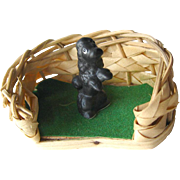 Vintage Miniature Dollhouse Dog Basket and Poodle / Dollhouse Furniture / Miniature Furniture / Doll House Accessories / Miniature Dog