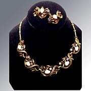 Coro Rhinestone and Faux Pearl Necklace and Earring Set