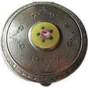 Vintage 1920s Guilloche Yellow Enamel Floral Compact / Bridesmaid Gift / Vanity Item / Purse Accessory