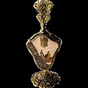 Floral Ormolu Beveled Amber Glass Large Filigree Perfume Bottle / Vintage Vanity