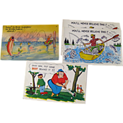 Four Vintage Humorous Sport Postcards / Vintage Ephemera / Souvenir Post Card / Fishing Postcard / Golfing Postcard