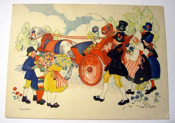 Aina Stenberg Colorful Vintage Postcard