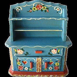 Miniature China Cabinet / Bavarian Style Hutch Miniature Hand Painted China Cabinet by Dora Kuhn West Germany / Dollhouse Furniture