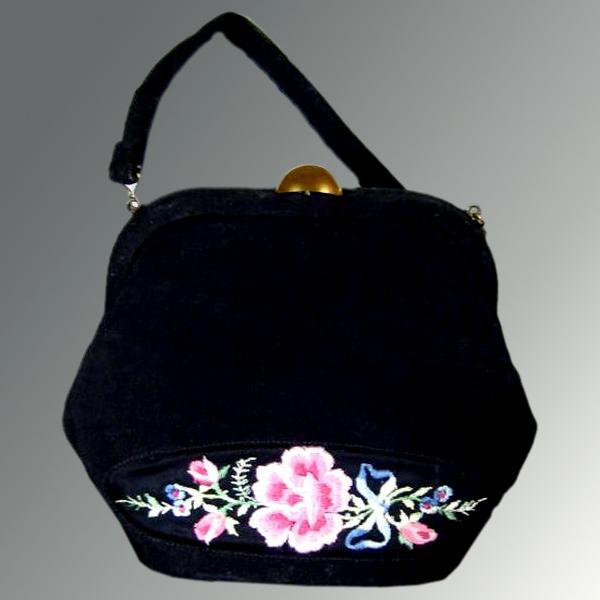 Embroidered Black Purse