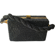 Vintage Black Beaded Box Purse With Braided Handle