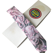 Ralph Marlin Pink Elephant Necktie / Mens Fashion / Novelty Tie
