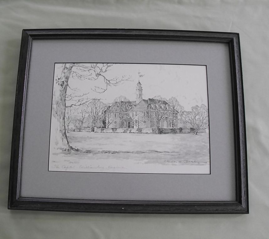 """Print of Charles H Overly pencil sketch of """"The Capital, Williamsburg, Virgina""""  signed"""