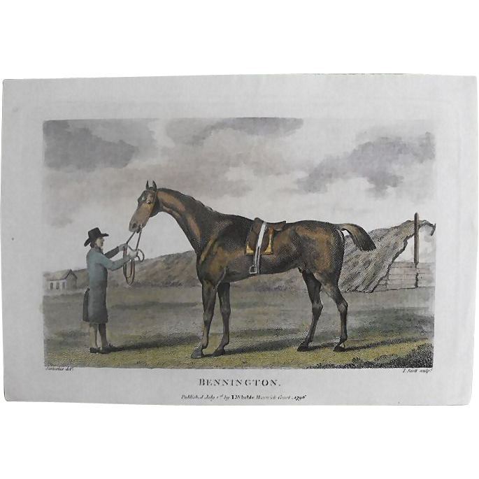 "Lithograph Print of John Scott engraving of horse "" Bennington"" from 1796 : circa 1872"