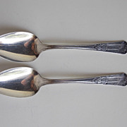 PAIR (2 piece) Silverplate Spoons KFNF Henry Field Shenandoah IA