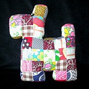 Patchwork Scrap Quilt Pillow - Scotty Dog