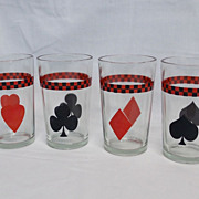 Complete Set Vintage Playing Card Tumblers Heart Diamond Club Spade