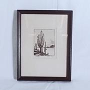 Richardson Rome Etching GIANT SAGUARO - Framed
