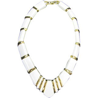 Napier Necklace White Plastic with Gold Dividers