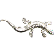 Sterling and marcasite lizard pin