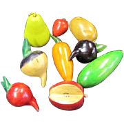Collection of Wooden Fruit and Vegetables