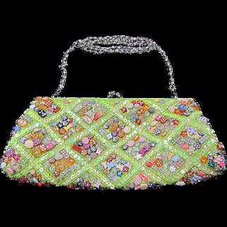 La Viola Sequin and Beaded Clutch Handbag