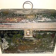 Antique Painted Tin Document Box Toleware