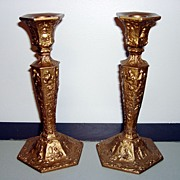 Vintage Fully Ornate Candle Holders By WB MFG Co.