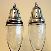 Vintage Engraved Crystal Salt & Pepper With Sterling Lids