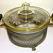 Vintage Pyrex Clear Glass Bowl With Farberware Metal Stand