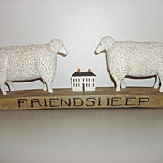Vintage Wooden Hand Carved FRIENDSHEEP Folk Art Sculpture