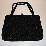 Vintage Black Beads Hand Bag Walborg Made In Belgium