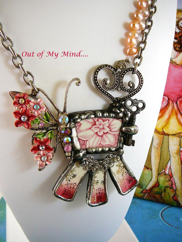 Butterfly in My Garden ~ Out of My Mind Collage Necklace