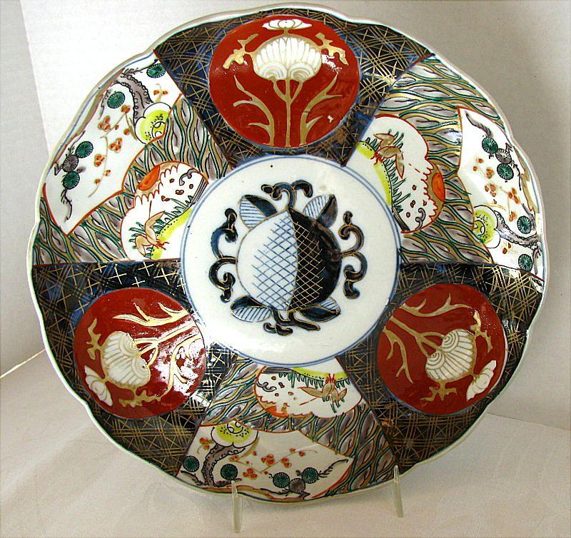Imari Plate, Stylized Peach,  Antique Japanese, Late Meiji Era