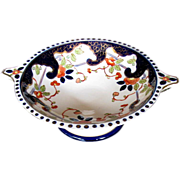 Chinoiserie Pedestal Bowl, Antique 19th C English, Imari Colors