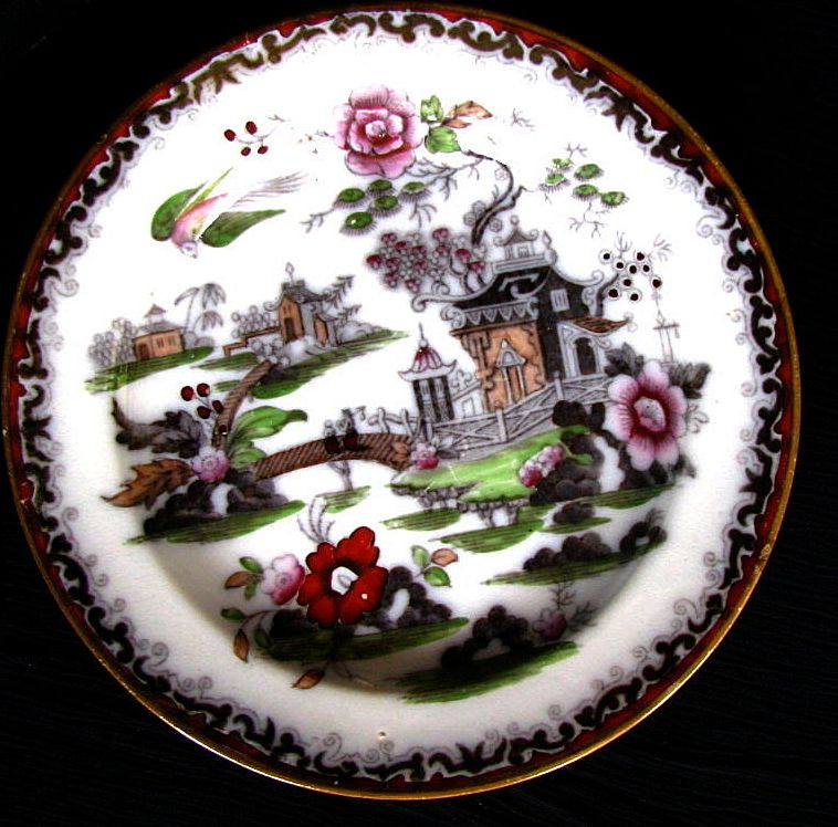 Chinoiserie Plate, Gaudy Willow Variant,  Antique 19th C English