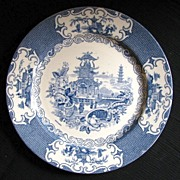"""Allertons Plate, """"Chinese"""" Pattern Blue Transferware, Vintage English Chinoiserie"""