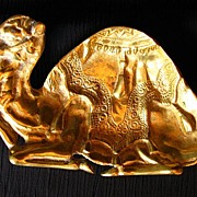 Cast Brass Resting Camel Figural Ashtray
