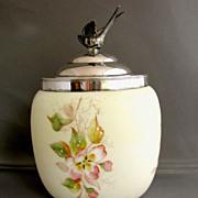SALE Wave Crest Biscuit Barrel/Jar, Antique American Art Glass