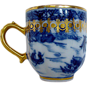 Chinese Export Coffee Cup, Blue & White, English Gilding, Antique 18th C