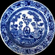"Wedgwood Plate, ""Chinese Vase""/""Blue Bamboo"" Transferware, Antique c 1805"