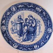 Wedgwood Plate, Flow Blue Ivanhoe Transferware Series,  Ivanhoe & Rowena