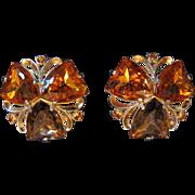 Schiaparelli Earrings, Large Topaz & Citrine Faux Stones, Clip, Patented